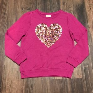 Crazy 8. Pink Sweater w/ Gold Sequined Heart. Sz M